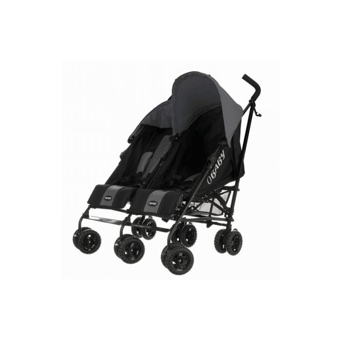 Obaby Apollo Twin Stroller - Black / Grey - Left
