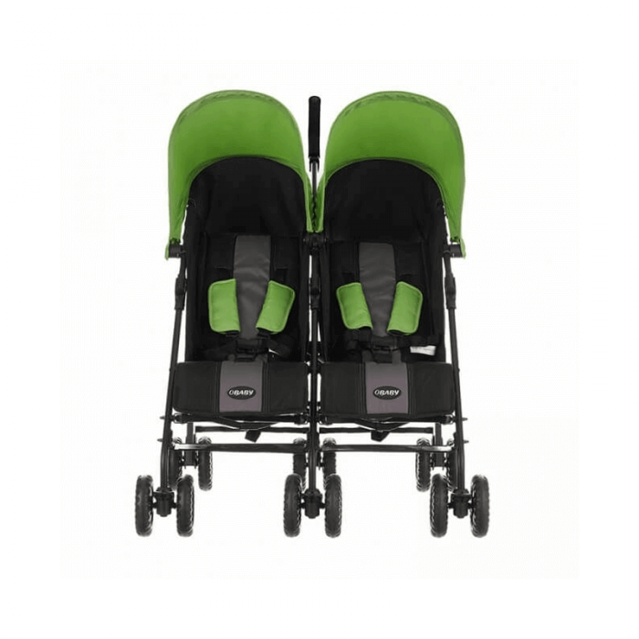 Obaby Apollo Twin Stroller - Black / Lime - Front