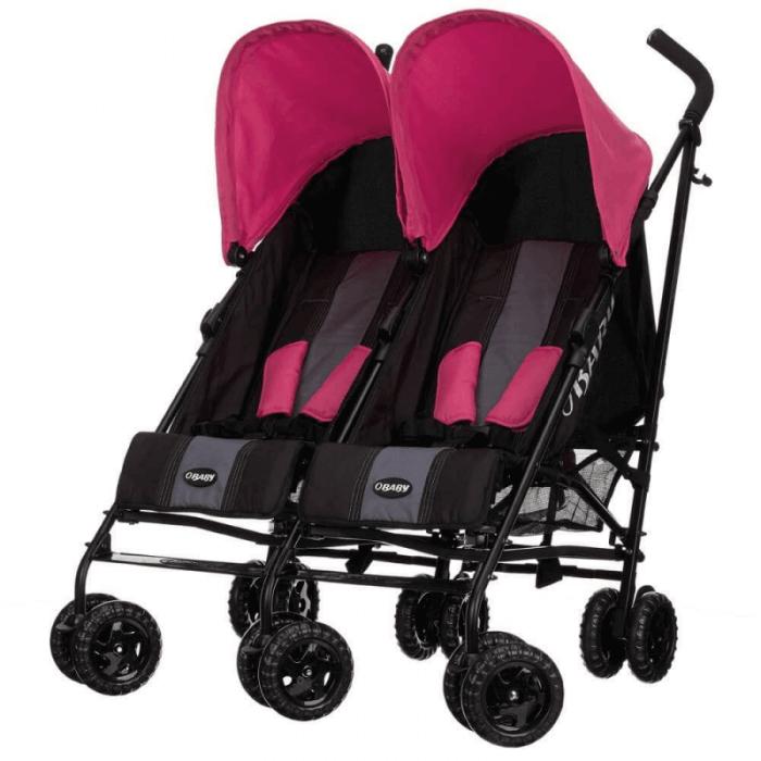 Obaby Apollo Twin Stroller - Black / Pink