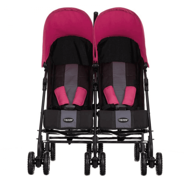 Obaby Apollo Twin Stroller - Black / Pink - Front
