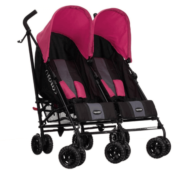 Obaby Apollo Twin Stroller - Black / Pink - Right