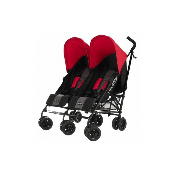 Obaby Apollo Twin Stroller - Black / Red