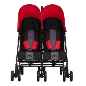 Obaby Apollo Twin Stroller - Black / Red - Front