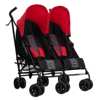 Obaby Apollo Twin Stroller - Black / Red - Right