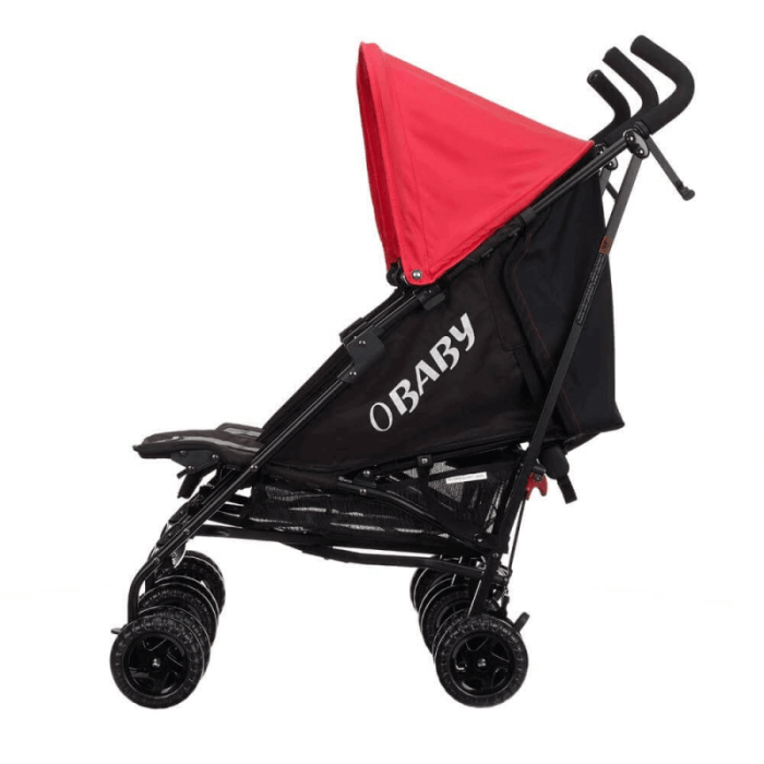 Obaby Apollo Twin Stroller - Black / Red - Side