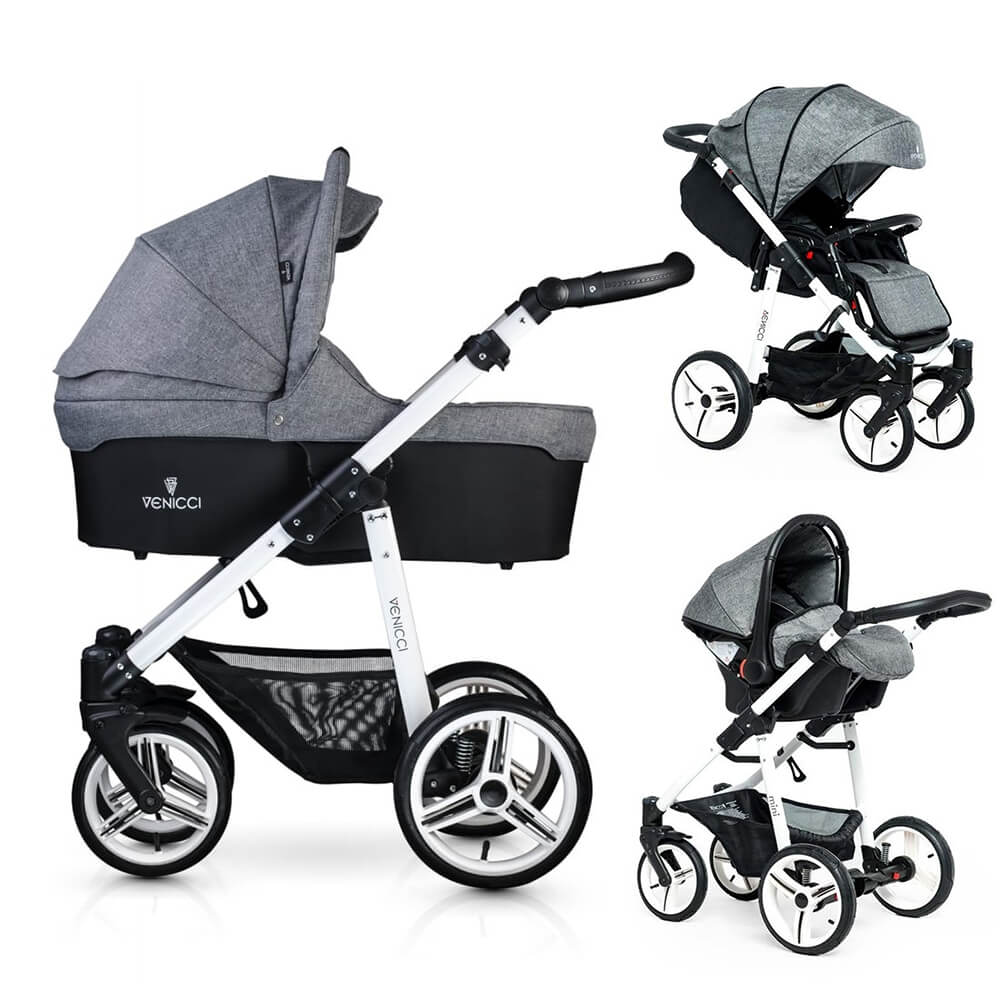 Compare retail prices of Venicci Soft 3-in-1 Travel System - Denim Grey / White to get the best deal online