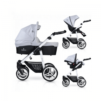 Venicci Soft 3-in-1 Travel System - Light Grey / White