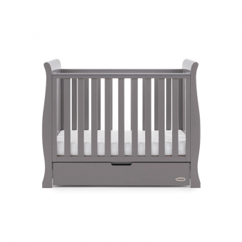 Obaby Stamford Space-Saver Sleigh Cot - Taupe Grey - Height 1