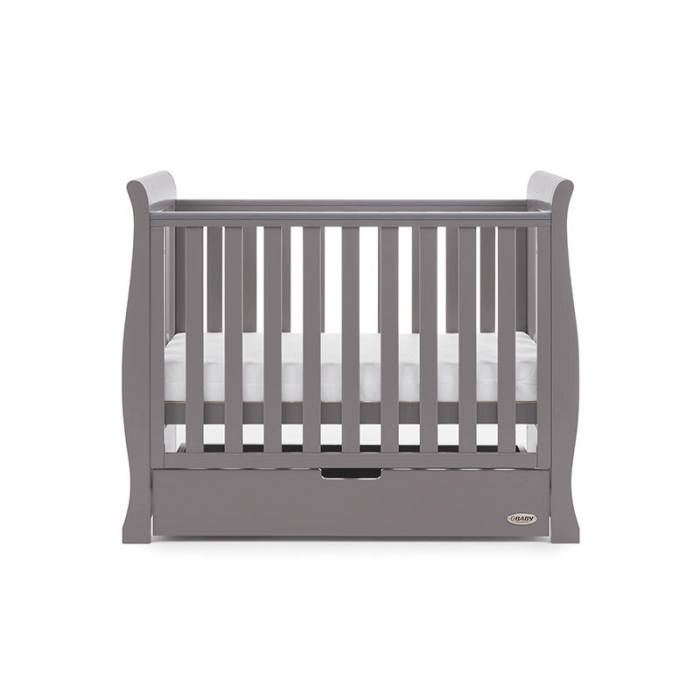 Obaby Stamford Space-Saver Sleigh Cot - Taupe Grey - Height 2