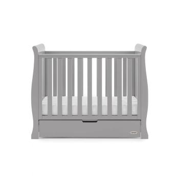 Obaby Stamford Space-Saver Sleigh Cot - Warm Grey - Height 1