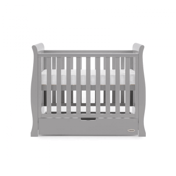 Obaby Stamford Space-Saver Sleigh Cot - Warm Grey - Height 3