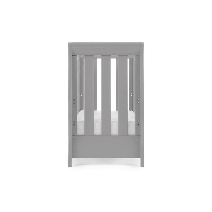 Obaby Stamford Space-Saver Sleigh Cot - Warm Grey - Side