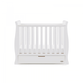 Obaby Stamford Space-Saver Sleigh Cot - White - Height 1