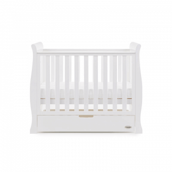 Obaby Stamford Space-Saver Sleigh Cot - White - Height 2