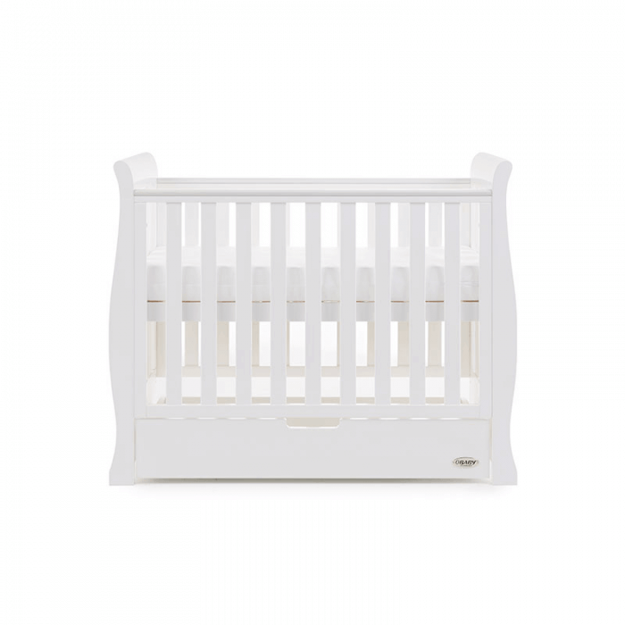 Obaby Stamford Space-Saver Sleigh Cot - White - Height 3