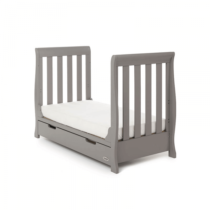 Obaby Stamford Mini Sleigh Cot Bed - Taupe Grey - Toddler Bed