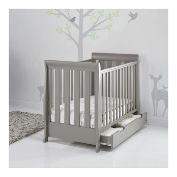 Obaby Stamford Mini Sleigh Cot Bed - Taupe Grey - Lifestyle