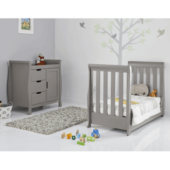 Obaby Stamford Mini Sleigh Cot Bed - Taupe Grey - Lifestyle 2