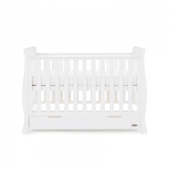 Obaby Stamford Mini Sleigh Cot Bed - White - Side