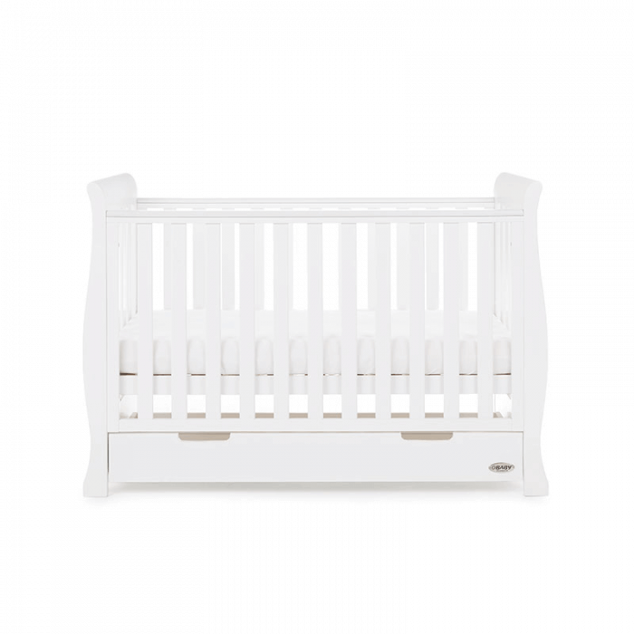 Obaby Stamford Mini Sleigh Cot Bed - White - Side 2