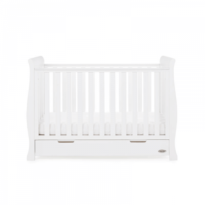 Obaby Stamford Mini Sleigh Cot Bed - White - Side 3