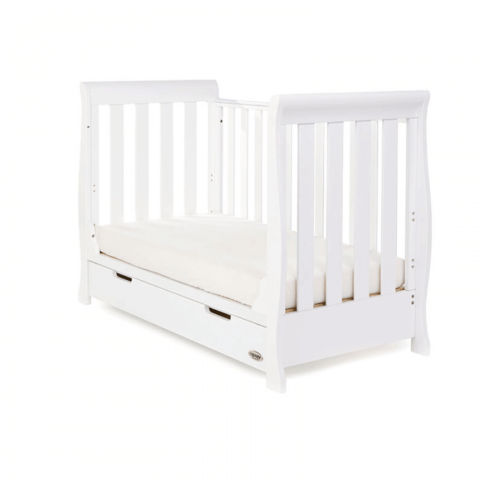 Obaby Stamford Mini Sleigh Cot Bed - White - Day Bed