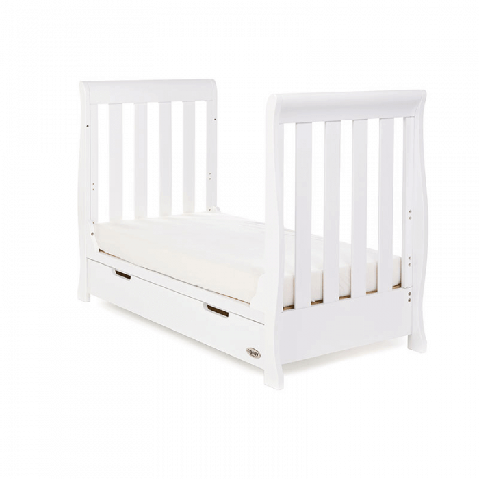 Obaby Stamford Mini Sleigh Cot Bed - White - Junior Bed