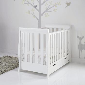 Obaby Stamford Mini Sleigh Cot Bed - White - Lifestyle