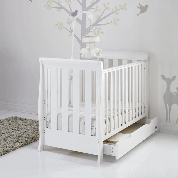Obaby Stamford Mini Sleigh Cot Bed - White - Lifestyle 2