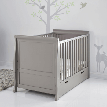 Obaby Stamford Classic Sleigh Cot Bed - Taupe Grey - Lifestyle