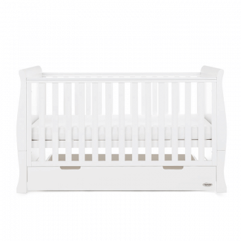 Obaby Stamford Classic Sleigh Cot Bed - White - Side Alt