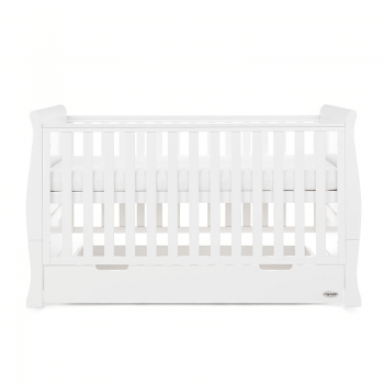 Obaby Stamford Classic Sleigh Cot Bed - White - Side