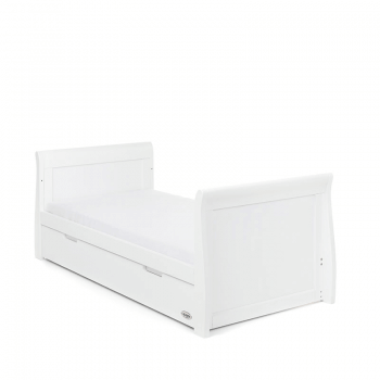Obaby Stamford Classic Sleigh Cot Bed - White - Toddler Bed