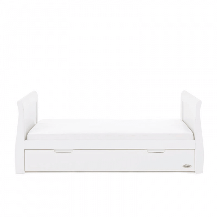 Obaby Stamford Classic Sleigh Cot Bed - White - Toddler Bed Side