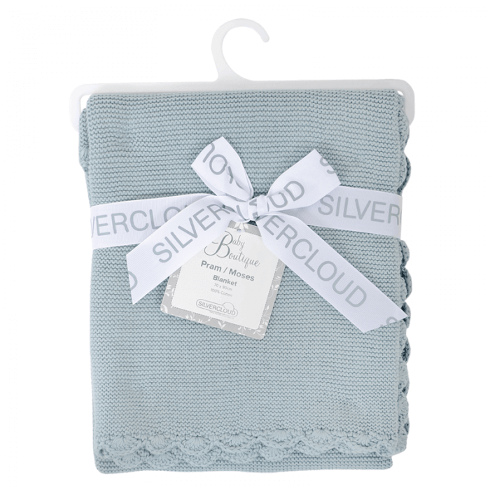 East Coast Knitted Blanket - Silver Blue