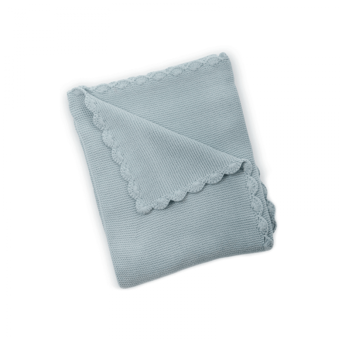 East Coast Knitted Blanket - Silver Blue - Front
