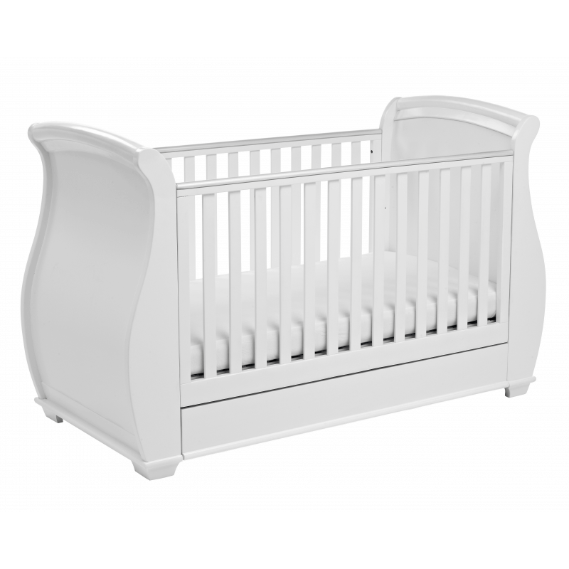 Babymore Bel Sleigh Dropside Cot Bed with Drawer - White