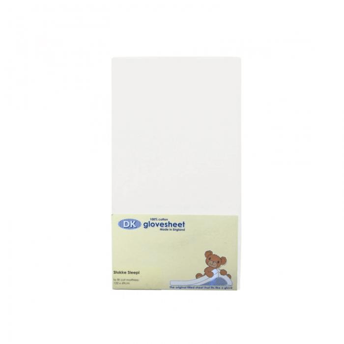 DK Glovesheets Stokke Sleepi Fitted Sheet - White 122x69cm