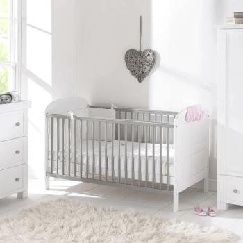 East Coast Angelina Cot Bed - White / Grey - Lifestyle