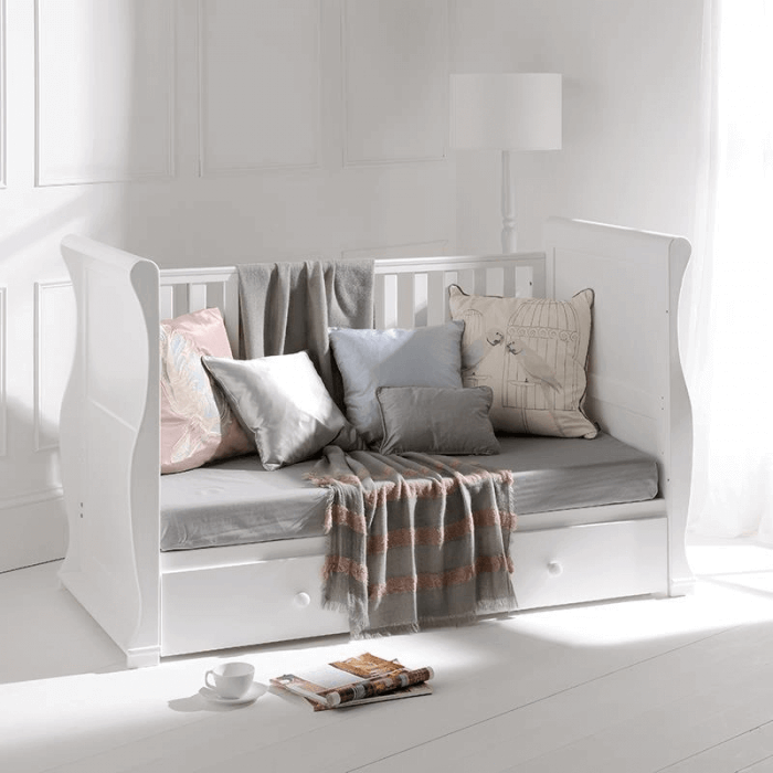 East Coast Alaska Sleigh Cot Bed - White - Lifestyle 2