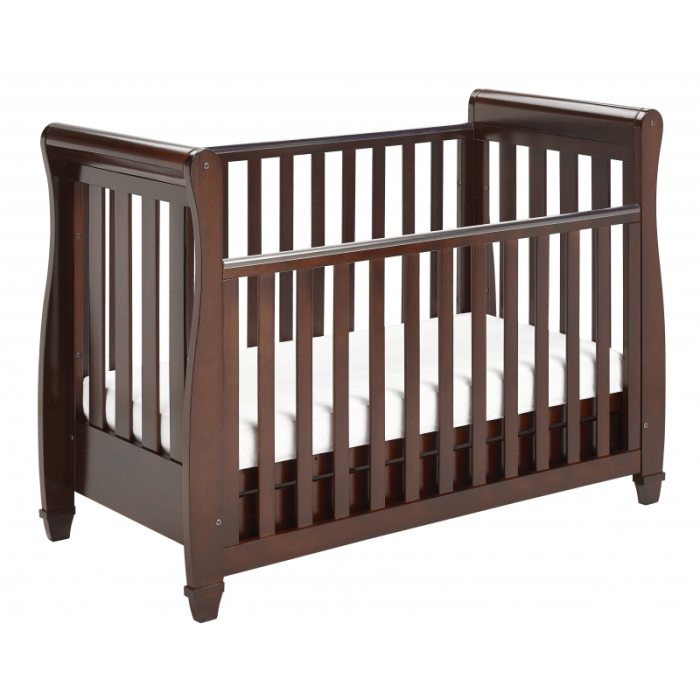Eva Sleigh Dropside Cot Bed with Drawer - Brown-2