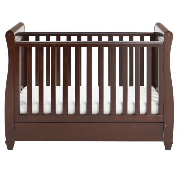 Eva Sleigh Dropside Cot Bed with Drawer - Brown-3