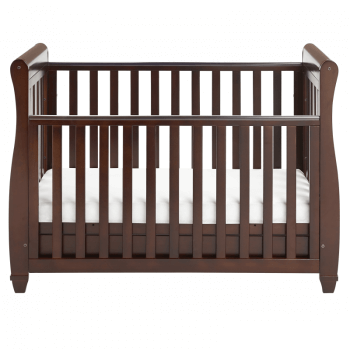 Eva Sleigh Dropside Cot Bed with Drawer - Brown-4