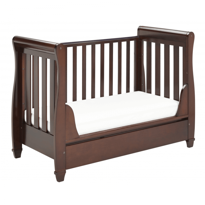Eva Sleigh Dropside Cot Bed with Drawer - Brown-5