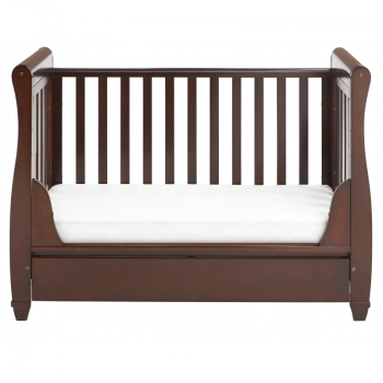Eva Sleigh Dropside Cot Bed with Drawer - Brown-6