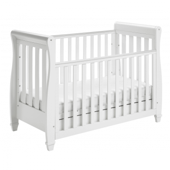 Eva Sleigh Dropside Cot Bed with Drawer - White 3