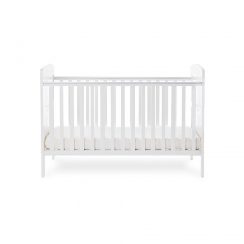 Grace Cot Bed- White- Side Image Lowest Level