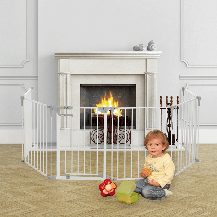 Hauck Babypark, 6 Sided Playpen with Playmat - White Fire