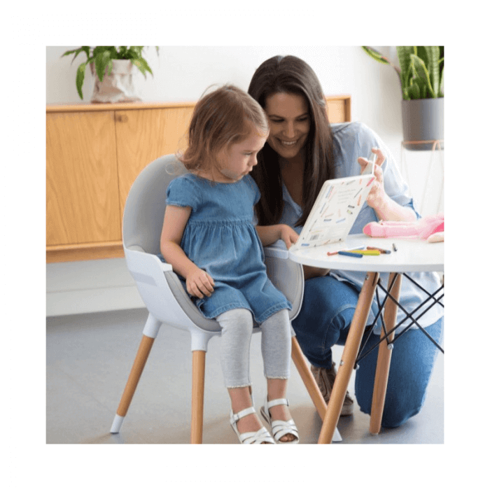 Koo-Di Duo Wooden Highchair - Grey and Beech Chair