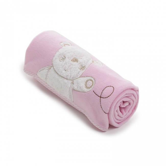 Obaby B Is For Bear Appliqued Fleece Blankets - Pink